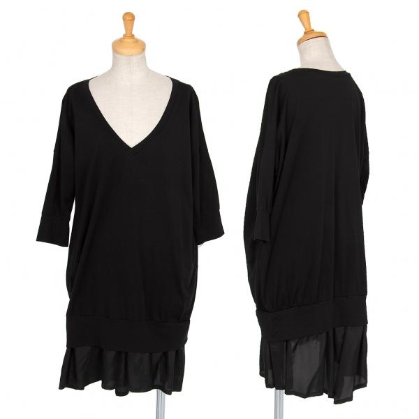 ワイズY's 裾プリーツ切替Vネックカットソーワンピース 黒2