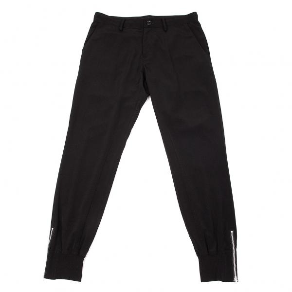 ワイズY's 裾リブジップテーパードパンツ 黒2