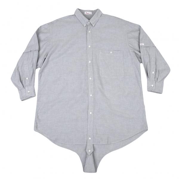 パパスPapas オックスフォード股付きボタンダウンシャツ グレーM