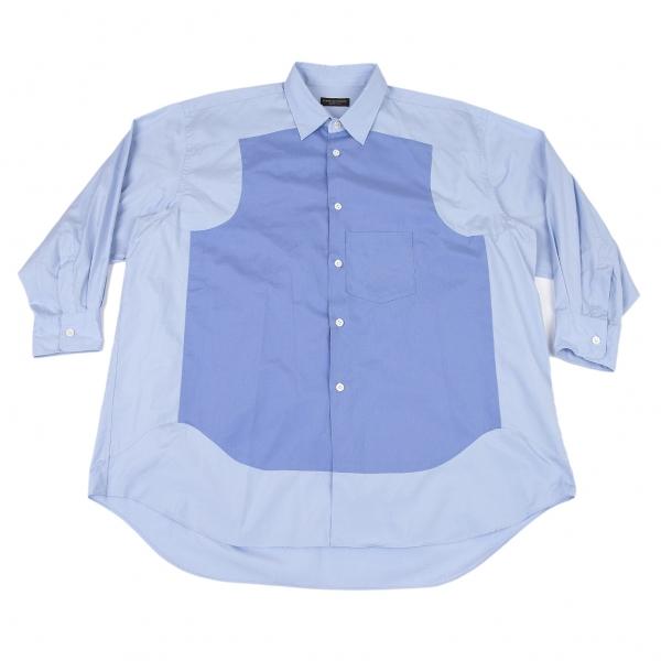 コムデギャルソン オムプリュスCOMME des GARCONS HOMME PLUS フロントパネル切替デザインシャツ 濃淡ブルーM位