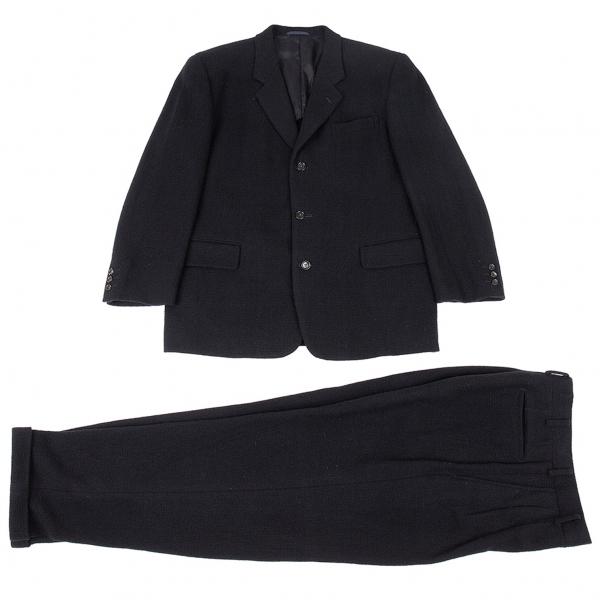 コムデギャルソン オムCOMME des GARCONS HOMME 粗織りウールセットアップスーツ 紺M/S