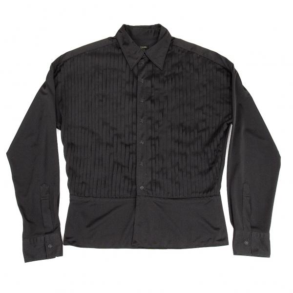 ジャンポールゴルチエ オムJean Paul GAULTIER HOMME フロントピンタックストレッチシャツ 黒48