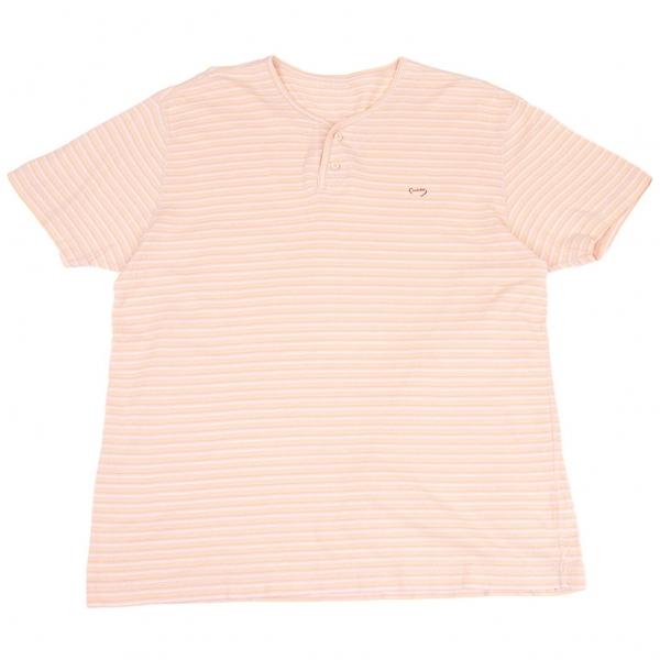 パパスPapas コットンリネンボーダーヘンリーネックTシャツ ピンク50L