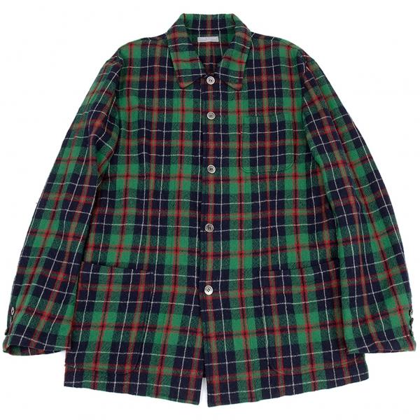 コムデギャルソン オムCOMME des GARCONS HOMME ウールチェックシャツジャケット 緑紺M位