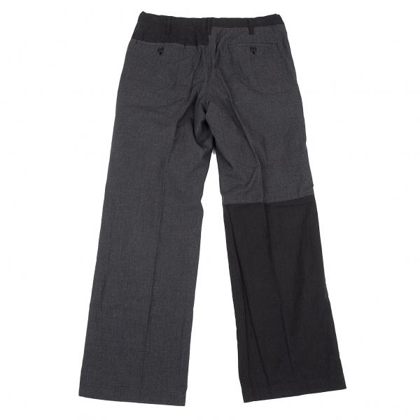 ワイズフォーメンY's for men 製品染め切り替えデザインパンツ 黒グレー3
