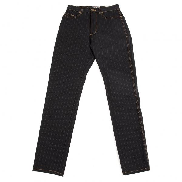 ジーンズポールゴルチエJean's Paul GAULTIER ストライプステッチテーパードパンツ 黒グレー40