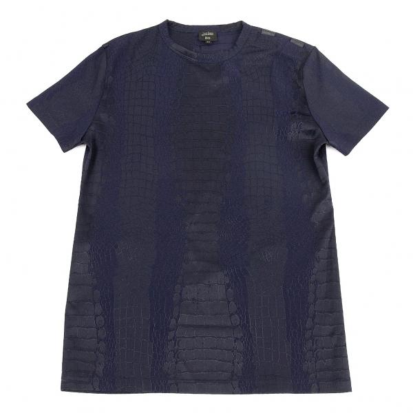 ジャンポールゴルチエ オムJean Paul GAULTIER HOMME クロコダイル柄織り肩開きTシャツ 紺48