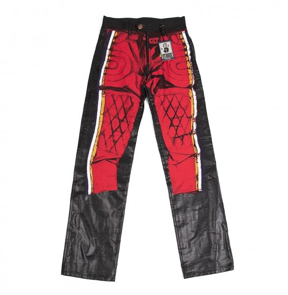 ゴルチエジーンズGAULTIER JEAN'S バイカーパンツプリントデザインパンツ 赤黒40