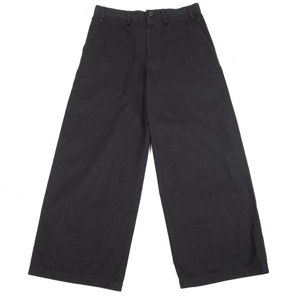 ワイズY's コットンワイドパンツ 黒1