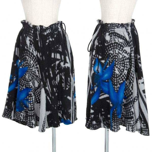ワイズY's プリントウールスカート 黒グレー青2