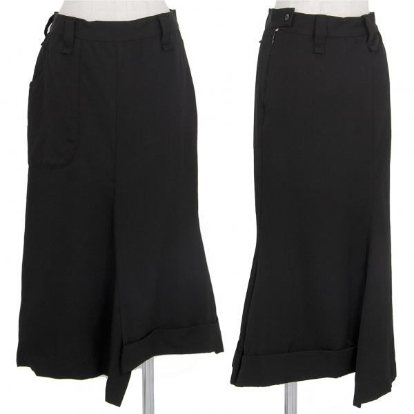 ワイズY's サルエル風ウールギャバスカート 黒2