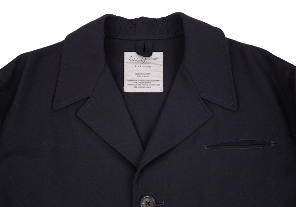 top design so cheap best loved Yohji Yamamoto POUR HOMME Wool Gabardine Jacket Navy S | PLAYFUL
