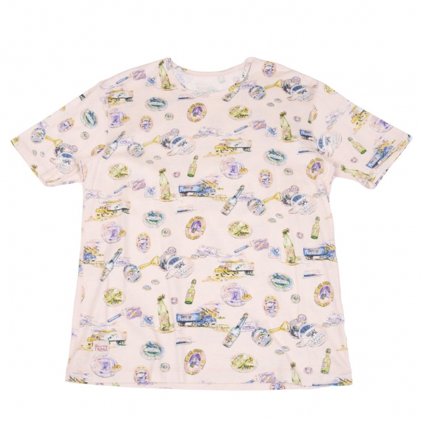 パパスPapas ビアボトルプリントTシャツ ピンクマルチ50L