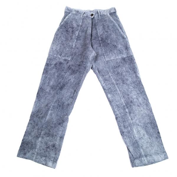 ワイズY's ウールむら染めパッチポケットパンツ 杢スモーキーブルー2