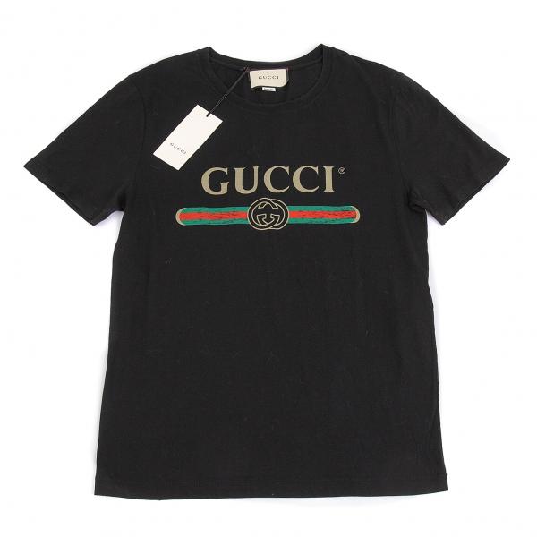 新品!グッチGUCCI ロゴプリントダメージ加工Tシャツ 黒S