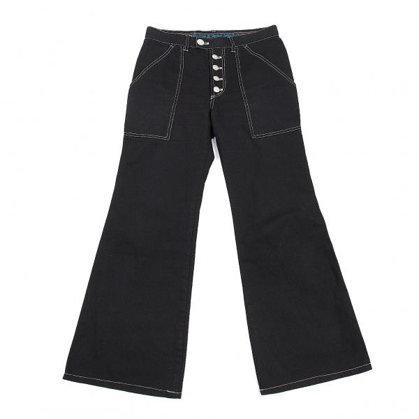 ゴルチエジーンズGAULTIER JEAN'S コットンキャンバスパッチポケットフレアパンツ 墨黒40