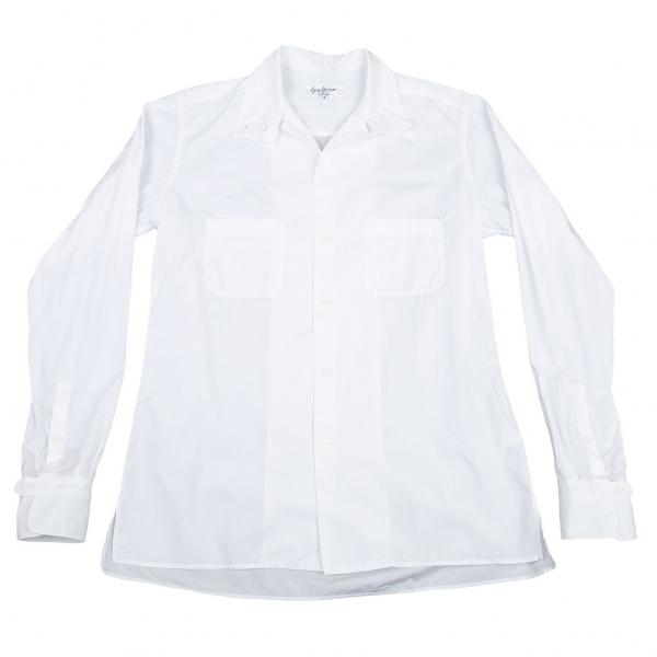 ヨウジヤマモト プールオムYohji Yamamoto POUR HOMME コットンブロードスクエアカラーシャツ 白4
