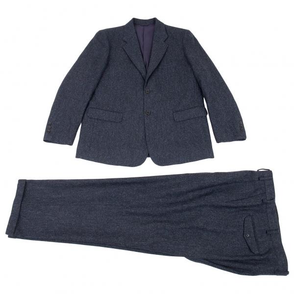 パパスPapas MOON社ファブリックツイードセットアップスーツ 紺48(M)/56(2X)