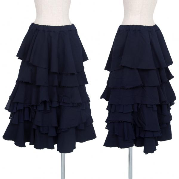 コムコム コムデギャルソンCOMME des GARCONS 製品染めエステルティアードスカート 紺M