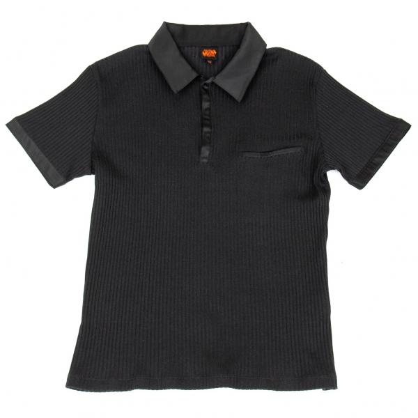ジャンポールゴルチエJean Paul GAULTIER サテン切替リブニットポロシャツ 黒50
