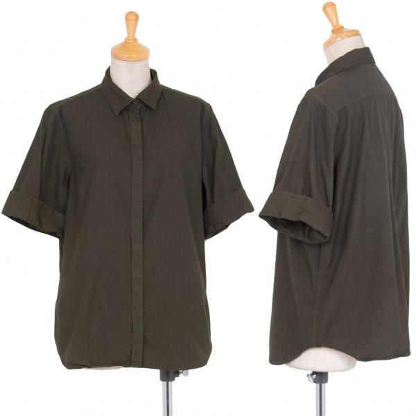 イッセイミヤケ ハートISSEY MIYAKE HaaT 製品染めプリーツ切替半袖シャツ カーキ2