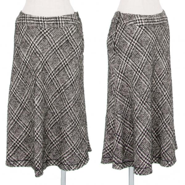 INGEBORGインゲボルグ バイアスチェックツイードスカート 黒モカ白11