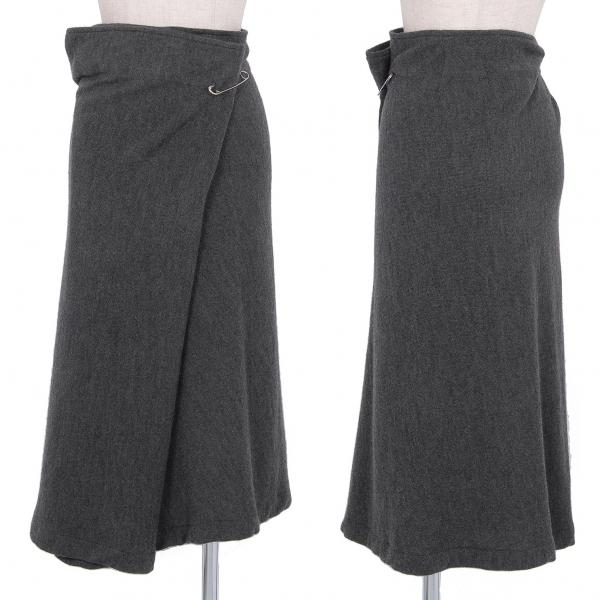 ワイズY's ウールニットピン留めワイドスカート グレー3