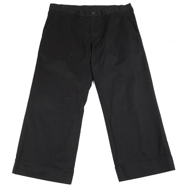ヨウジヤマモト ノアールYohji Yamamoto NOIR コットンギャバ裾ダブルワイドパンツ 黒2