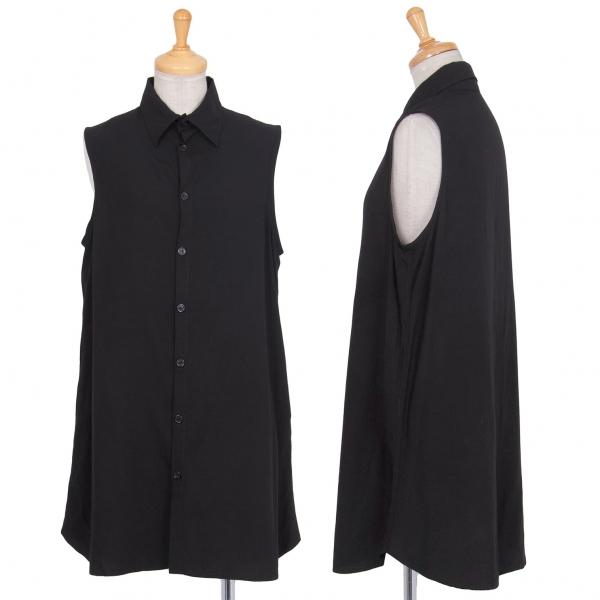 ワイズY's レーヨンノースリーブシャツ 黒4