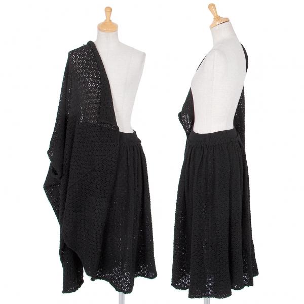 ワイズY's ローゲージニットハーフボレロデザインスカート 黒3