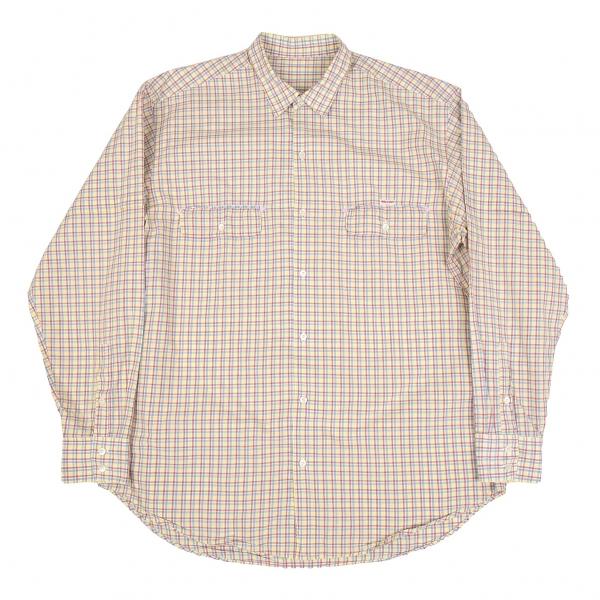 パパスPapas オーバーチェック袖切替フラップポケットシャツ 白黄他M