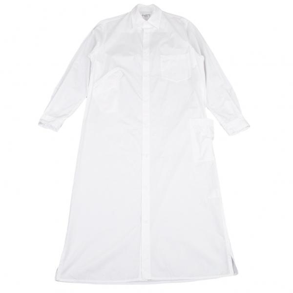 ヨウジヤマモト プールオムYohji Yamamoto POUR HOMME コットンブロードマルチポケットロング丈シャツ 白1