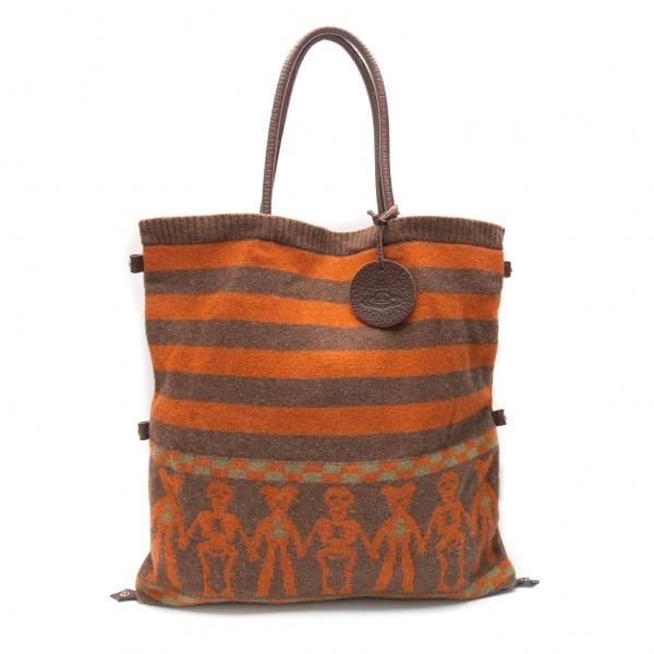 ヴィヴィアンウエストウッドVivienne Westwood ウールニット3WAYトートバッグ オレンジモカ
