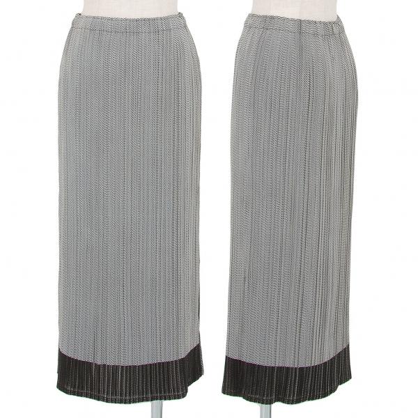 イッセイミヤケ フェットISSEY MIYAKE FETE バイアスストライププリーツレイヤードスカート グレー1