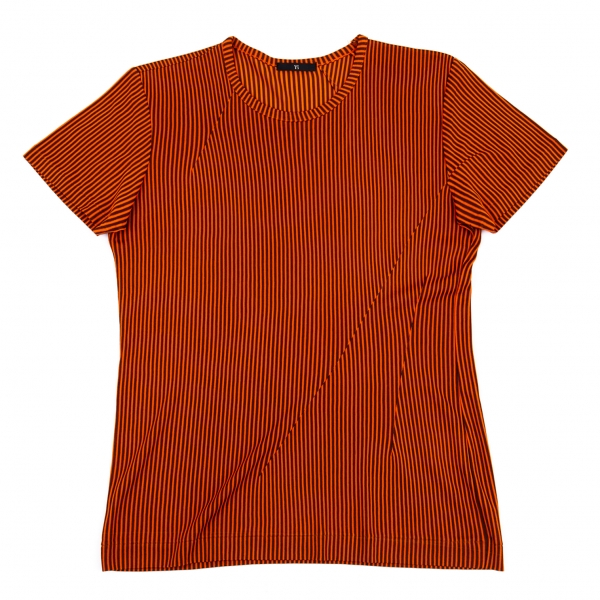 ワイズY's ダーツデザインストライプTシャツ オレンジ茶M位