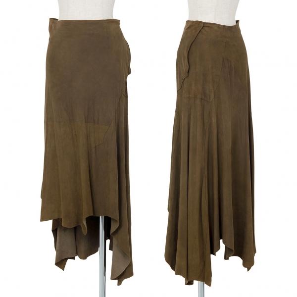 ヨウジヤマモト ファムYohji Yamamoto FEMME シープスキン切替デザインスカート オリーブ1