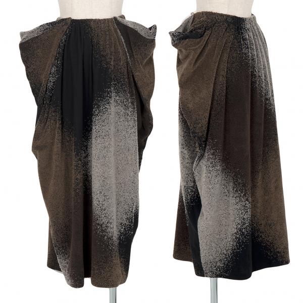 ヨーガンレールJURGEN LEHL コットン起毛加工デザインスカート 黒茶M