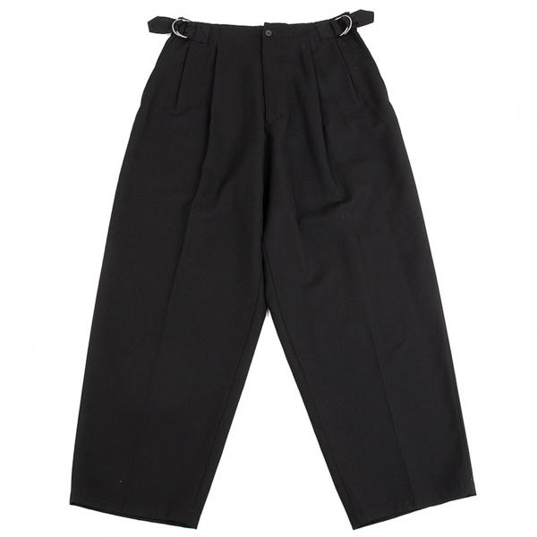 ワイズフォーメンY's for men ウールギャバサイドダブルリングベルトパンツ 黒M