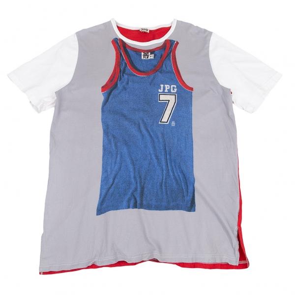 ジャンポールゴルチエJean Paul GAULTIER PARIS バスケットボールシャツ転写プリントTシャツ グレー白他L位