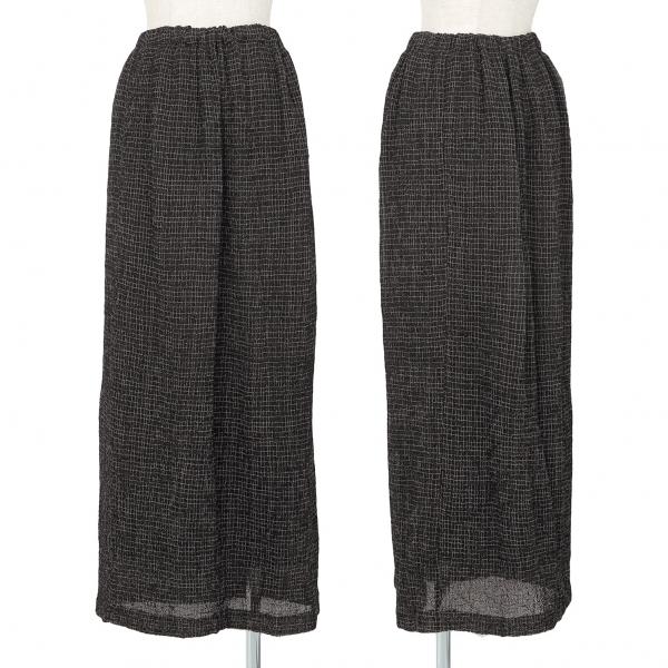 ヨーガンレールJURGEN LEHL 格子刺繍シルクスカート 黒M