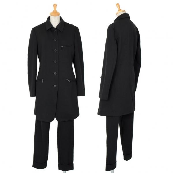 イッセイミヤケISSEY MIYAKE デザインポリセットアップスーツ 黒M