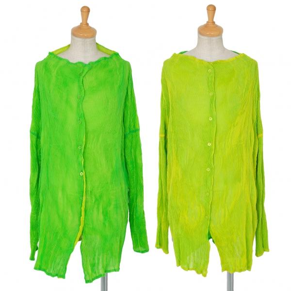 イッセイミヤケISSEY MIYAKE リバーシブルプリーツネオンブラウス 黄緑2