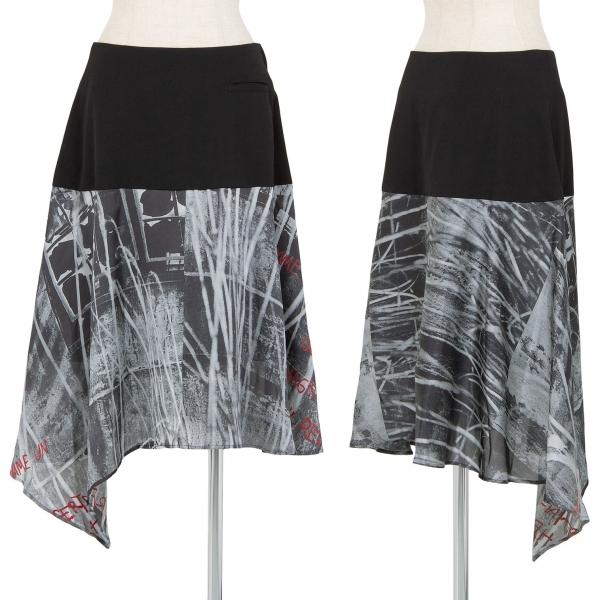 ワイズY's ウールギャバグラフィックプリント切替スカート 黒他1