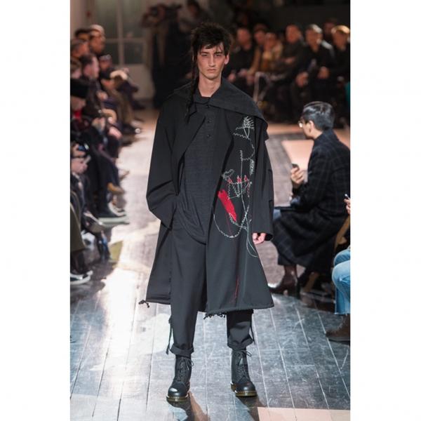 Yohji Yamamoto POUR HOMME Embroidery Wool Gabardine Coat Black 2
