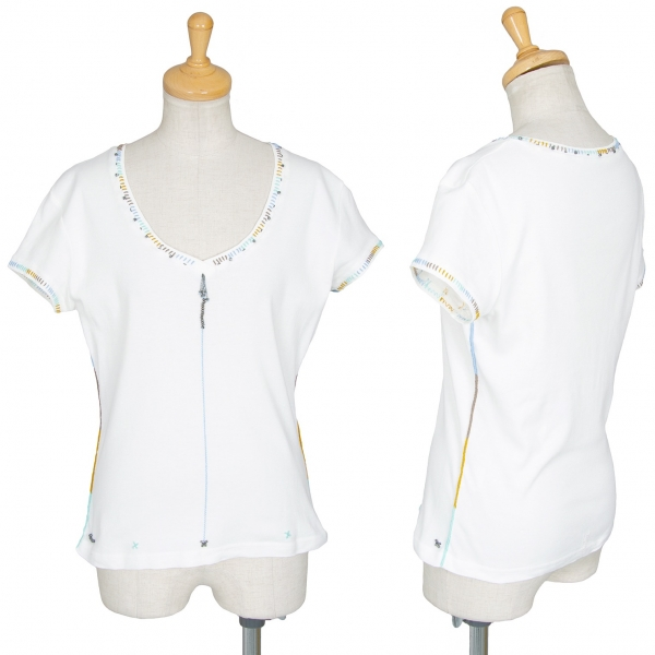ISSEY MIYAKE HaaT Stitched T Shirt White 2