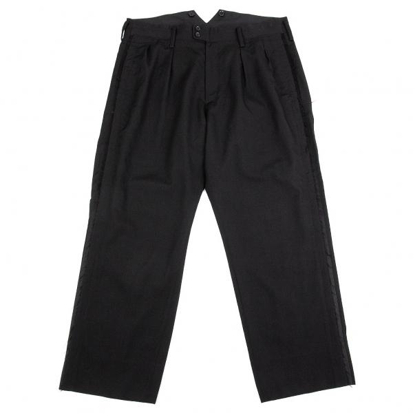 ヨウジヤマモト プールオムYohji Yamamoto POUR HOMME ウールギャバサイドライン切りっぱなしデザインパンツ 黒6