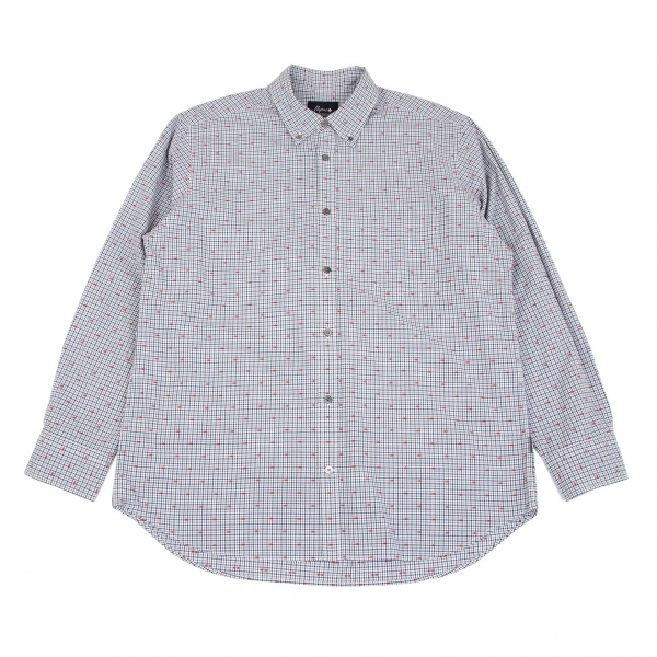 Papas plus Checked Embroidery Long Sleeve Shirt Navy LL
