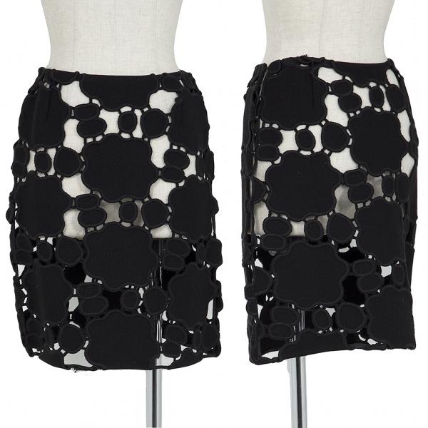 miumiu Patch Lace Mini Skirt Black S-M