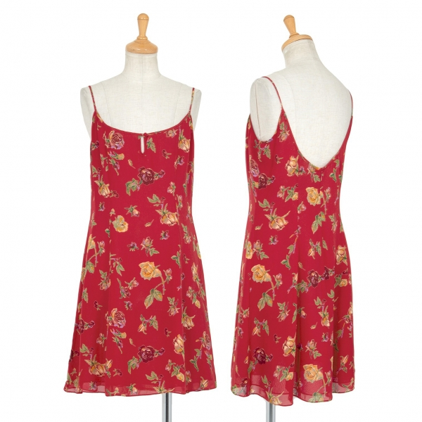 Ralph Lauren Rose Printed Camisole Dress Red 6