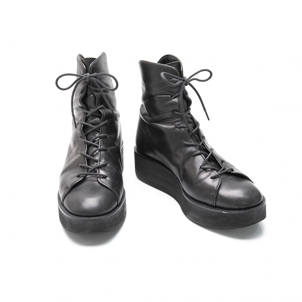 Y's Platform Leather Boots Black 2(About US 6)